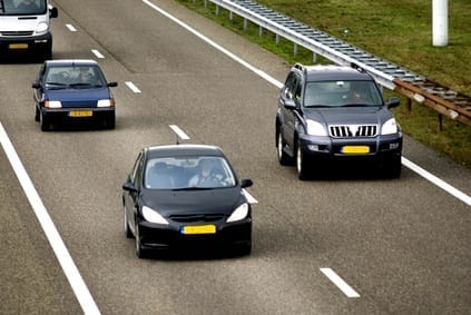 private cars on the road