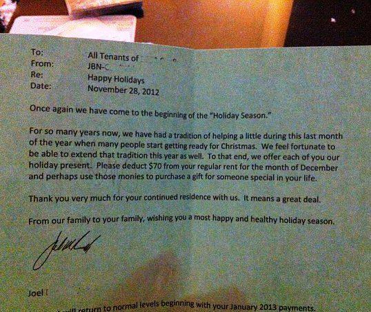 USA: padrone di casa riduce l'affitto agli inquilini nel periodo natalizio