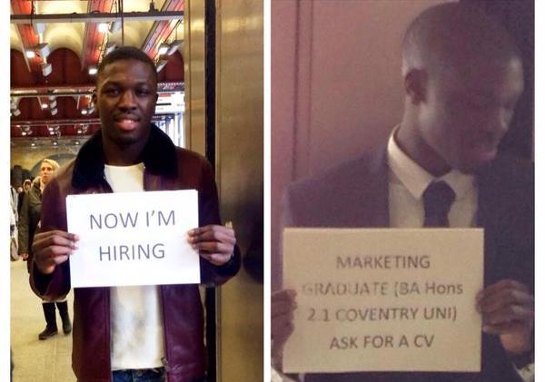 Cerca e trova lavoro mostrando un cartello in stazione