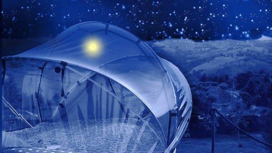 Tenda trasparente per il glamping nelle Marche